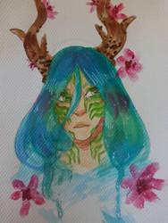 Forest spirit in watercolor by NeverPastOblivian