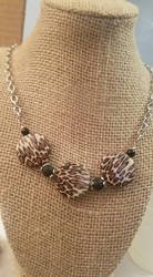Wild leopard print necklace with black jade by FROdominatrix