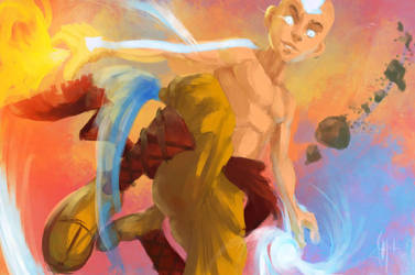 Aang, in avatar mode by JnMohab