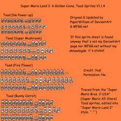 Super Mario Land 2 Toad Sprites V1.1.4 by PaperWilliam