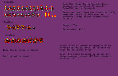 MM1 Robot Masters SMS Sprites (Part 2) by PaperWilliam