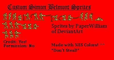 Custom Simon Belmont Sprites by PaperWilliam