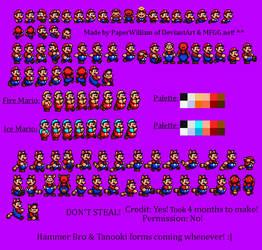 Custom Mario Sprites (Sega Genesis style) by PaperWilliam