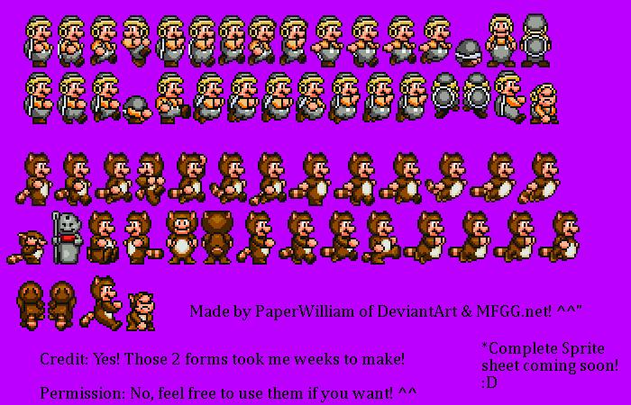 Custom Mario Sprites (Sega Genesis Style) Part 2 by PaperWilliam