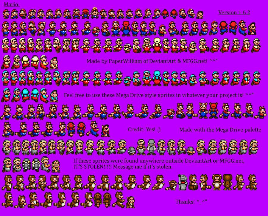 Custom Mario Sprites (Sega Genesis style) Full by PaperWilliam