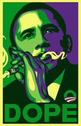 Dope Obama poster parody green by biotwist