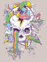 Flying Rainbow skull Island by biotwist