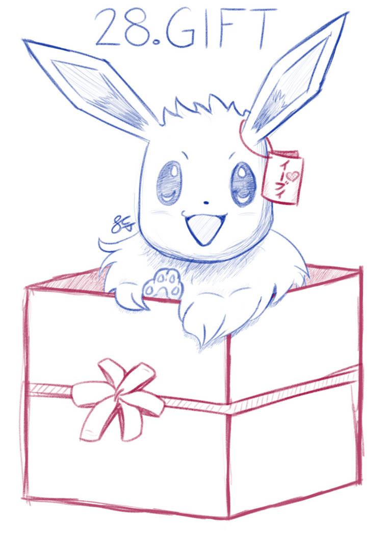 Inktober Day 28: Gift-Boxed Eevee by Seathorne