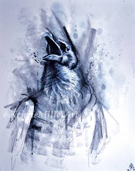 Mixed Media Crow #5 by McKMills
