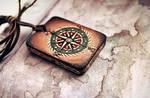 Wooden handmade amulet - Compass by Aijoku