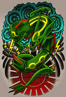 Rayquaza Tattoo Commission by RetkiKosmos