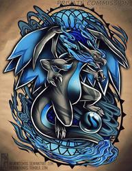 Mega Charizard X Tattoo Commission by RetkiKosmos