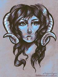 Ram horn girl by RetkiKosmos