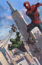 Hulk Spiderman Painted by benttibisson