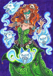 Lady and foxes by Agatha-Macpie