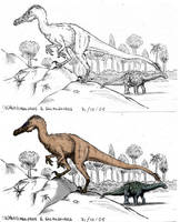 Unquillosaurus and Saltasaur by maniraptora
