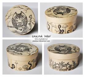 Mushroom owl wooden box by ElaRaczyk