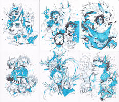 Ink-Splash Page commissions batch 1 and 2 by HJeojeo