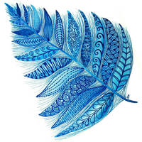 Blue Watercolor Feather by flexibledreams