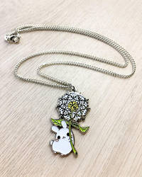Dandelion Puddle Bunny Necklace by celesse