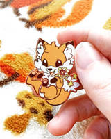 Bouncy Doki Fox Enamel Pin by celesse