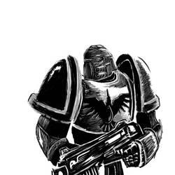 space marine doodle by zerodrk