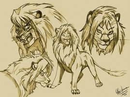 Lion Sketch My Chara Spirit by chrissi-dinos