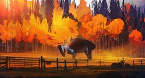 Autumn - Last Leaves by Grivetart