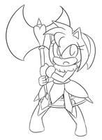 Amy: Battle Warrior :Lineart: by Xero-J