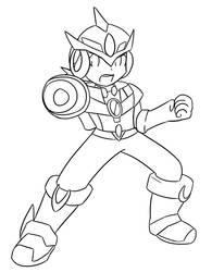 Mega Man EXE: Ultimate Armor :Lineart: by Xero-J
