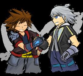 Sora and Riku: Reunion Cross ~Commission~ by Xero-J