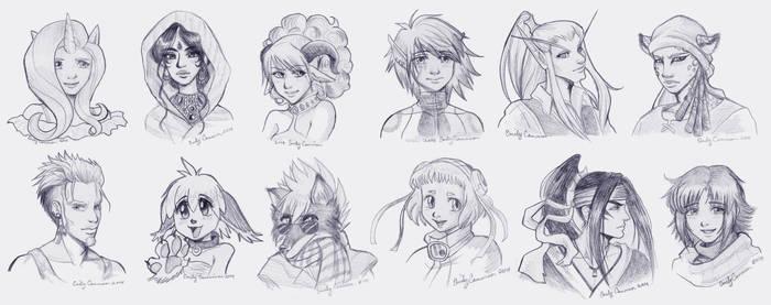 Anime Sketch Portraits by EmilyCammisa