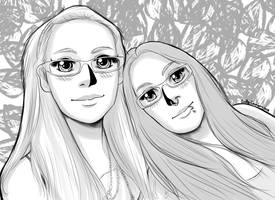 Lady Metal and Daughter's Anime Portrait by EmilyCammisa