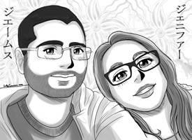 James and Jennifer's Anime Portrait by EmilyCammisa