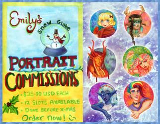Snow Globe Portrait Commissions by EmilyCammisa