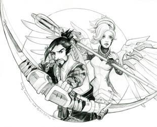 Overwatch Hanzo and Mercy by EmilyCammisa