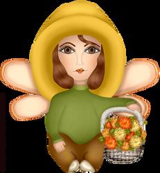 Craftykid Autumn Fairy With Basket Mums by Craftykid