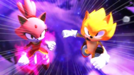 Super Sonic and Burning Blaze by NinjawsGaiden