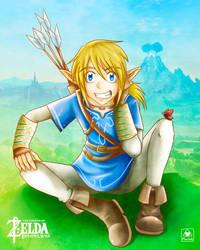 Link in meadows of Hyrule by oMariLinko