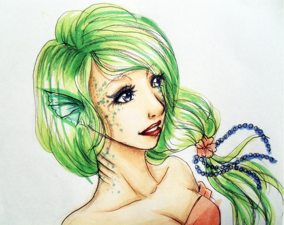 Green Hair Mermaid By Kayeria On Deviantart