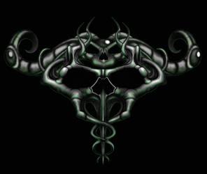 Double Caduses Skull by kayden7