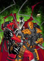 Spawn vs. Deadpool. vs. Deathstroke by chaosxm7