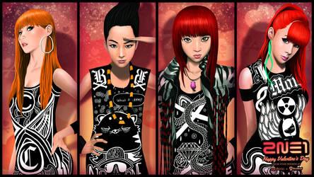 AKP x BoxHead 2NE1 Valentine's Day WP by BoxHeadStudio