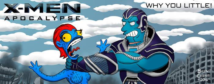 X-Men: Apocalypse Billboard Simpsonized by brentcherry