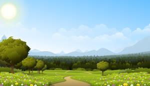 Road through meadow by Fenris-V