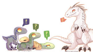 Jurassic World - Indominus and the Raptors by ArtistoftheGeeks