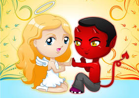 Good and Evil play with us by heglys