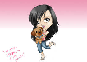 Chibi MzzAzn and her dog by heglys