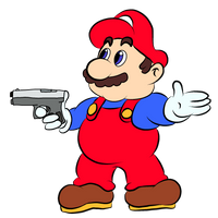 Mario with a Gun by SinkCandyCentral