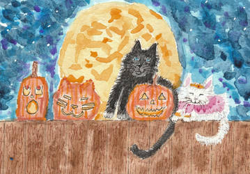 Halloween  cat  watercolor  painting by tulipteardrops